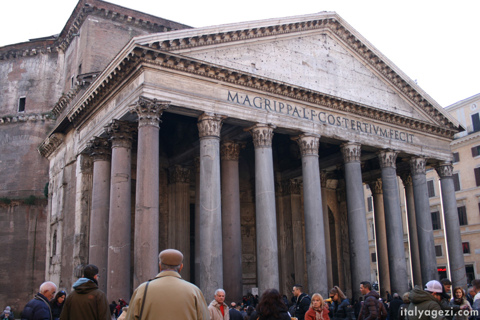 Pantheon Agrippa yazıtı, Pantheon'un ön cephesi